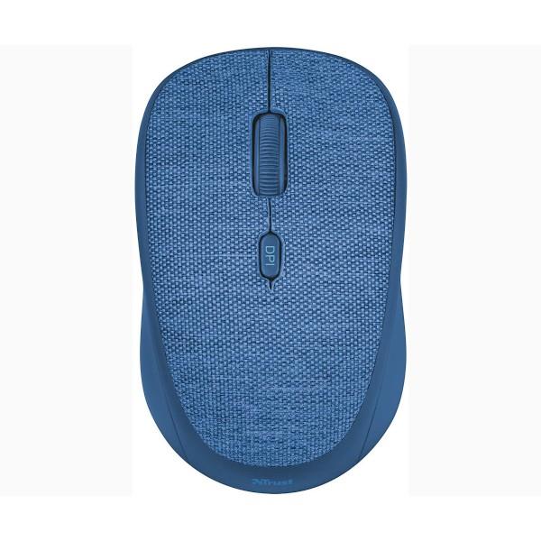 Trust yi fabric ratón inalámbrico azul con cubierta de suave tejido